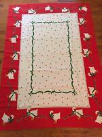 Vintage Vera Neumann Christmas Tablecloth Goose Holly Berries