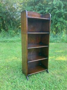 Vintage Narrow Oak Bookcase Storage 5 Shelves Antique Arts Crafts