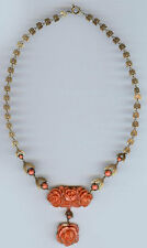 BEAUTIFUL VINTAGE CORAL COLOR CELLULOID CARVED ROSES BRASS LEAVES NECKLACE
