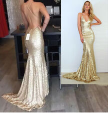 Champagne Gold Mermaid Prom Dress 2016 Sparkle Open Back Evening Party dresses