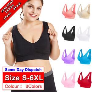 Ladies Seamless Padded Sports Bra Shape Wear Womens Underwear Plus Size