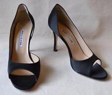 Manolo Blahnik Black D'Orsay Satin Open Toe Shoes  Size 39 - US Size 9