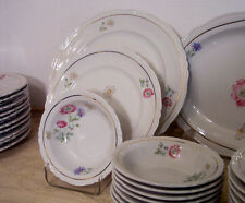 Bareuther 31 piece dinnerware service, water color floral, 1940s Germany US Zone