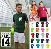 Kids Personalised Sport T Shirt Team Kit NAME & NUMBER Football PE Gym Netball