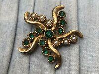 Vintage Star Brooch Gold Tone Pin Green Rhinestone Faux Pearl Costume Jewellery