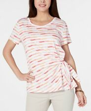 Style & Co Women's Clothing Printed Side-Tie Top Brush Pink Size XL