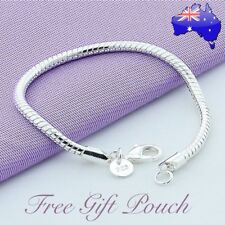 925 Sterling Silver Filled Classic Lady Girl 3MM Solid Snake Chain Bracelet Gift