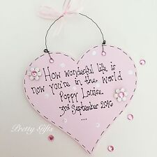 Personalised New Baby Boy Girl 1st Birthday Heart Plaque Keepsake Gift Handmade