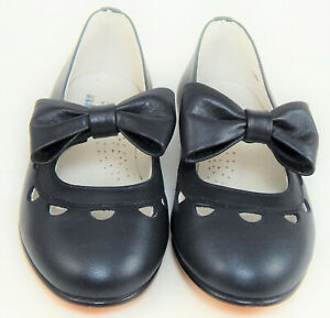 DE OSU - Girls Navy Blue Leather Angel Bow Dress Shoes - European - Sizes 6-10