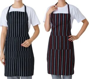 Chefs Apron with Pockets BBQ Baking Catering Striped Apron for Men Women Ladies