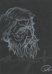 ORIGINAL WarrenS Art Card ATC ACEO Wisdom Old Man Time Face Beard Sketch Artwork