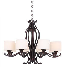 8-Light Oil Rubbed Bronze transitional wrought iron Chandelier with white shades