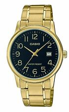Casio Mens Black Face Gold Analog Steel Band MTP-V002G-1B Date Fashion Watch New