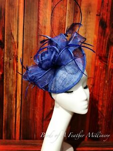 ROYAL BLUE #25CLEARANCE Feather Flower Fascinator Melbourne Cup Spring Race