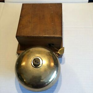 Vintage WOODEN / BRASS Electric Doorbell / TELEPHONE BELL ? by Julius Sax London