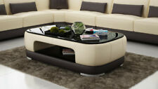 Leather Coffee Table Modern Glass Design Living Room CT9009b
