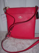 NWT  Coach Embossed Leather NS Swingpack Crossbody Handbag Cerise 52348