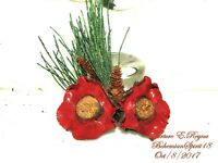 ARTURO E.REYNA RED DOUBLE DRY FLOWERS PINE CONE HANDMADE BROOCH/PIN
