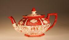Antique Staffordshire Pink Lustre Rare Hexagon Teapot, England c. 1860