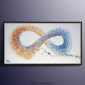 "Abstract Painting 67"" Infinity Symbol Impasto style, modern art by Koby Feldmos"