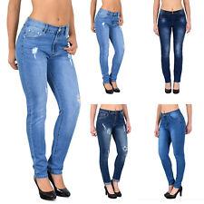 Damen Jeans Hose Normalsitzend Gerades Bein Dunkelblau Blau  42  48 50