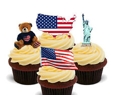 America USA Fun Pack, Edible Cup Cake Toppers Stand-up Cake Decorations American