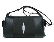 Genuine Stingray Leather Shoulder Bag, Black (02-256)