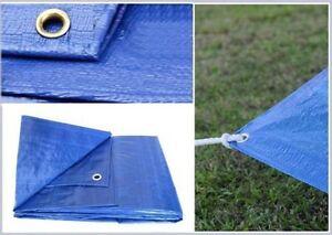 Blue Tarpaulin Waterproof Cover Tarp Ground Camping Sheet Multipurpose Garden