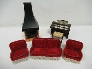 Vintage dolls house accessories 1:12 scale - Living room items