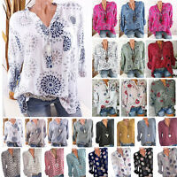 Womens Long Sleeve Casual V Neck Tops Loose Floral Spotted Blouse Tees T Shirt