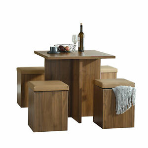 Woodyhome Dining Table with 4 Chairs Storage Ottoman Furniture Kitchen Breakfast