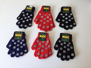 Kids Unisex Magic Gripper Gloves , Football Print, 3 Colours, 2 Sizes. Per Pair.