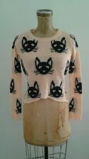 Super Soft Peach Cropped Sweater w Black Cat Faces Hipster Sz XS