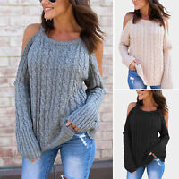 Women Cold Shoulder Twist Knitted Sweater Long Sleeve Loose Jumper Pullover Tops