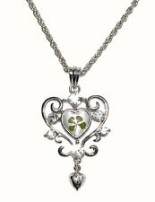 Large Heart Crystal Real Four Leaf Clover Pendant With Gift Box and Certificate