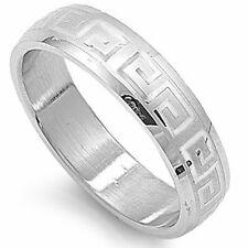 Beautiful Engraved Greek Pattern 316L Stainless Steel Ring Sizes 6-14