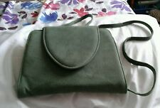 BEAUTIFUL VINTAGE GREEN SUEDE  BAG WITH A LONG STRAP 1970s GREAT ITEM