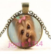 Yorkshire Terrier Cabochon bronze Glass Chain Pendant Necklace TS-6223