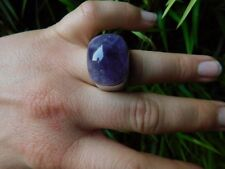 PIANEGONDA HUGE RING AMETHYST STONE VINTAGE ROCK STAR MAGICAL SIZE 6.5 - 7 ITALY