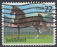 USA Briefmarke gestempelt 22c Saddlebred Pferd Tier / 1695