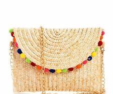 DESIGNER INSPIRED MULTI COLOR POM POM STRAW FOLDOVER CLUTCH BAG W/ CHAIN STRAP