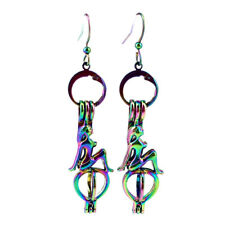 Rainbow Color Mermaid Pearl Cage Earrings Hooks with 8mm Plastic Beads Z409