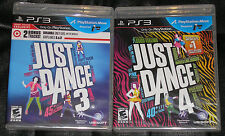 PS3 PS Move Game Lot - Just Dance 3 (New) Just Dance 4 (New) PS Move required