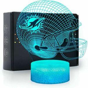 Ikavis 3D LED  illusion Night Light NFL Football Helmet Miami Dolphins New