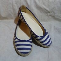 🥿 Nine West Espadrilles sz 8.5 M Navy Blue & White Stripes; Blue & Brown Trim