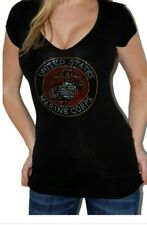 Sexy Black V-Neck Cap Sleeved Fitted stretch Marine Corp Bling T-shirt Top M New