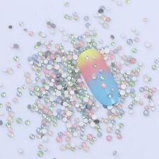 Multi-size Nail Art 3D Flat Bottom Opal Rhinestones Glitter Tips DIY Decoration