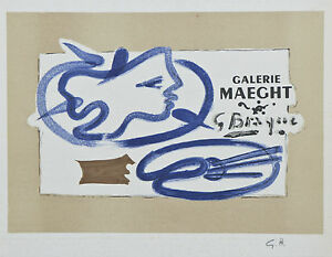 """Galerie Maeght 1950"" by Georges Braque Signed Lithograph 7""x9 1/2"""