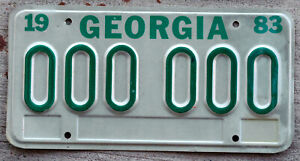 1983 Green on White Georgia License Plate