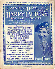 SHEET MUSIC - FRANCIS & DAY'S 5th ALBUM OF HARRY LAUDER SONGS - LONDON (1924)